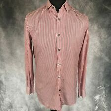 """PAUL SMITH London Slim Fit Red & White Striped Shirt Floral Cuffs 15.5"""""""
