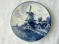 Vintage Delft Blue Decorative Hanging Plate Hand Painted Holland Windmill Folk