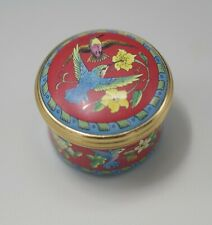 Halcyon Days Enamels Hummingbirds Red Enamel Box 1990's