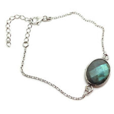 Labradorite oval Fine Bracelet solid Sterling Silver, Actual One, Multufaceted.