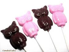 10 HARD CANDY LARGE OPAQUE OWL LOLLIPOPS - PARTY OR BABY SHOWER FAVORS