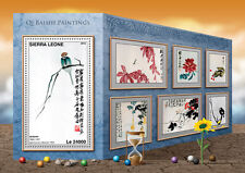 Sierra Leone 2016 MNH Qi Baishi Paintings 1v S/S Sparrow on Branch Art Stamps