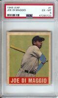 Joe DiMaggio 1948 Leaf Baseball Card Graded PSA 6 EX-MT New York Yankees #1