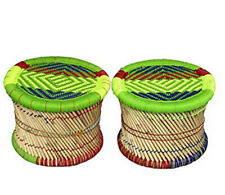 KKSM Beautiful Cane Bar BamBoo Foot Stool Muddha for Indoor/Outdoor (set of 2)