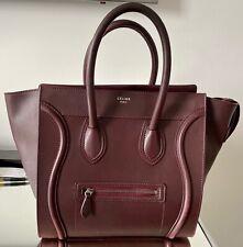 Celine Mini Luggage Tote Bag Burgundy Zipper Handle Large