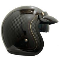 VIPER RS V06 GLOSS BLACK CHEQUER 500 OPEN FACE RETRO CUSTOM MOTORCYCLE HELMET