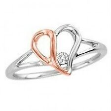 Sterling Silver Heart Ring with Diamond Accent .925 Two Tone Silver Ring SALE
