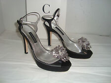 New Caparros Lavonne Black Silk Clear Heels Shoes 6 Medium