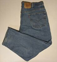 Vtg 1990s Levis 565 Loose Fit Baggy Blue Denim Distressed Faded Jeans USA 42x30
