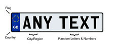 EUROPEAN British Vanity license plate Tag ANY TEXT or Number, CUSTOM White GB UK