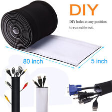 Cable Ties Management Sleeve Wrap Neoprene Wire Cord Cover Organizer Hider PC TV