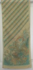 TERRIART Gold-Beige, Aqua, Brown Stripes, Sketches 52x11 Long Scarf-Vintage