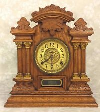 Antique Ingraham Oak Victorian Mantel Clock Running Columns and Incising
