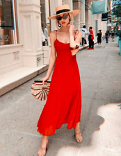 ZARA MAXIKLEID ROT GERAFFT LIMITED SEXY LONG RED ASYMMETRICAL DRESS 4886/079