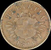 Switzerland 1874 B 5 Rappen KM#5 - RARE,  DDO, Double Die Obverse ERROR coin