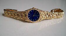 Women's Geneva Gold Finish Blue Dial Nugget style  bracelet fashion watch