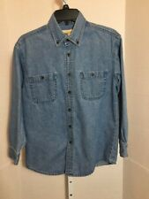 J. Khaki Youth Boys Blue Denim Jean Long-Sleeve Button Front Shirt Medium Cotton