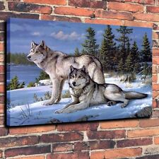 Art Canvas Print Oil Painting Wolves Winter Snow Home Decor 18