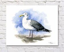 Seagull Art Print Watercolor Sea Gull Painting Bird by Artist DJR