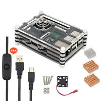 Raspberry Pi 3 Model B+ B Plus Acrylic Case with Fan + Heatsink + Power cable