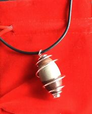 Shiva Lingham Spiral Pendant 925 Plated Rare Sacred Stone India High Frequency