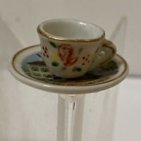Vintage Miniature Porcelain Tea Cup & Saucer Illinois Land of Lincoln Souvenir