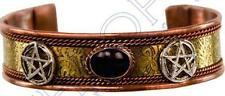 Copper Magnetic Bracelet with Pentagram Symbols and Black Tourmaline Stone!