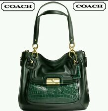 COACH Kristin Spectator Green Leather Shoulder Bag# 18303 EXTREMELY RARE EUC
