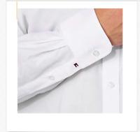Tommy Hilfiger Men's Regular Fit Spread Collar Long Sleeve white Dress Shirt