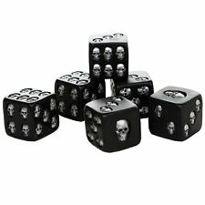 Decorative Black Skull Dice of Death 1.5 Inches Each Set of 6