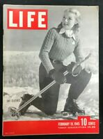 LIFE MAGAZINE  Feb 19 1945  SKI FASHIONS / Dalai Lama / MacArthur in Philippines