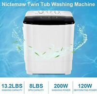 26LBS Compact Portable Washing Machine Twin Tub Drain Pump Spiner Dryer Washer=