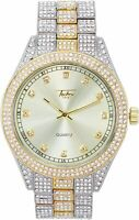 Men Fully Iced Watch Bling Rapper Simulate Diamond Gold Silver Hip Luxury 2 Tone