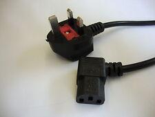 UK mains plug black power cable to left angle IEC C13