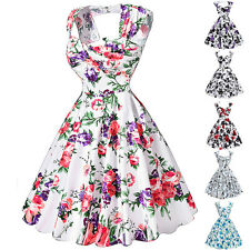 Womens Vintage 1940s 1950s DRESSES FLORAL Retro Swing PINUP Pleated Party Gowns