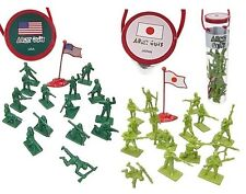 Toy Soldiers WWII US Army Japanese Infantry Set 34 Plastic Figures Tube 1/32