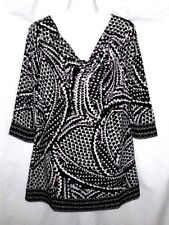 WOMEN'S WHITE HOUSE BLACK MARKET MULTI-COLOR 3/4 SLEEVE STRETCH TUNIC TOP SIZE M