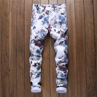 2019 New Men's Flower 3D Print Jeans Elastic Skinny Denim Pants Casual Trousers