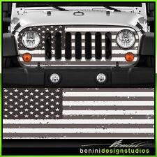 Jeep Wrangler Grill Vinyl Wrap Skin Black and White American Flag2007 2008 2009