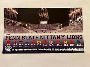 """2021 PENN STATE STUDENT BOOK STORE FOOTBALL MAGNET SCHEDULE 7' TALL/4"""" WIDE"""