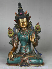 10.8 inch Old Tibetan Copper Silver Turquoise Temple Green Tara Goddess Statue