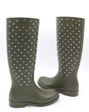 1f179f50564 Yves Saint Laurent Festival 25 Studded Crystal Green Rubber Rain BOOTS 36 6