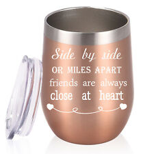 Stemless Wine Glass Tumbler 12 oz Double Wall Vacuum Stainless Travel Cup W/ Lid