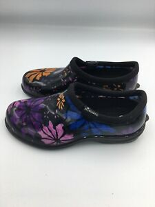 Size  6 Purple Flowers Woman's Waterproof Garden Clogs Nurse Shoes~ SLOGGERS