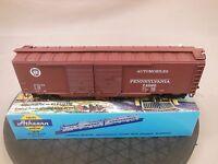 HO SCALE ATHEARN PENNSYLVANIA 50' DD BOX CAR BLUE BOX KIT BUILT (1/5)
