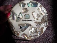 vintage lucite Abalone shell trivet hotplate footed says Virginia Beach, VA