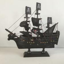 New BLACK PIRATE SHIP MODEL Jolly Roger Flag Detail Bedroom Gift Home Decor