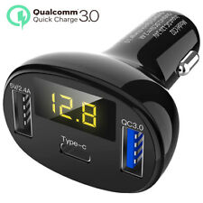 QC3.0 3Ports USB Type C Fast Charging LED Car Charger Adapter for Huawei Samsung