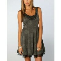 Free People Gray Rose Floral Print Beaded Fit n Flare Dress, Size Medium