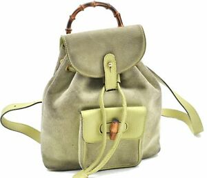 Authentic GUCCI Bamboo Backpack Suede Leather Light Green A2916